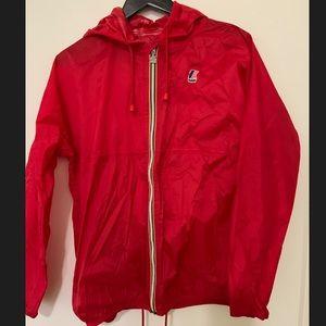 K-Way full zip Claude  Rain jacket Red